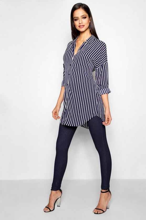Womens Blue Maternity Keira Stripe Oversized Woven Shirt