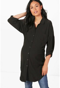 Womens Black Maternity Eva Oversized Woven Shirt