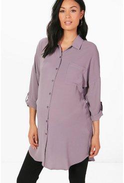 Maternity Eva Oversized Woven Shirt, Grey