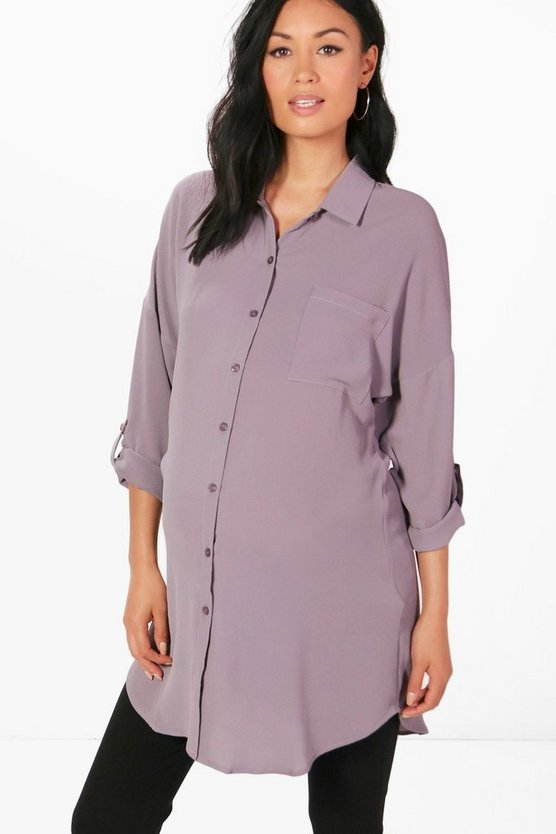 Womens Grey Maternity Eva Oversized Woven Shirt