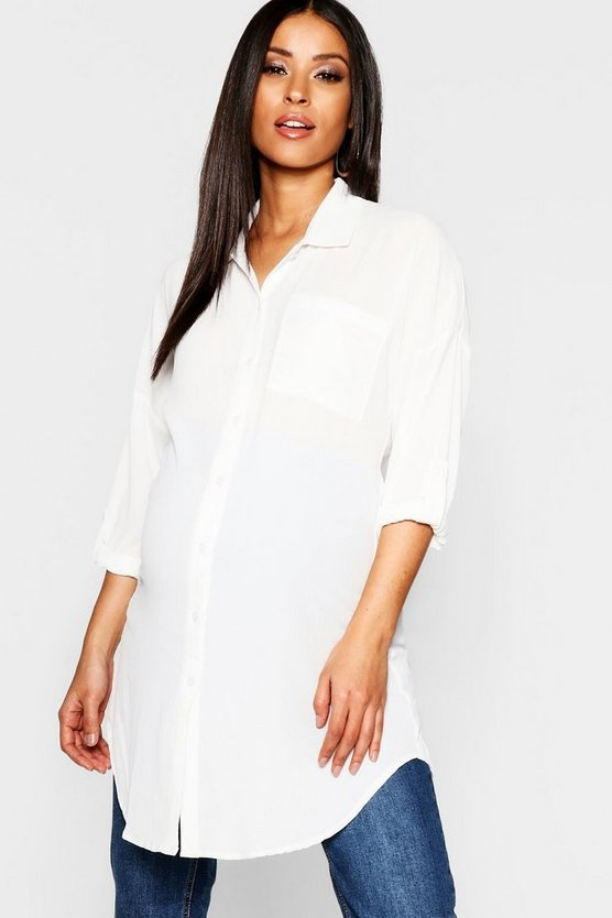 Womens White Maternity Eva Oversized Woven Shirt