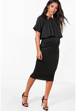 Black Maternity  Double Layer Wiggle Dress
