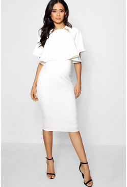 Womens White Maternity  Double Layer Wiggle Dress