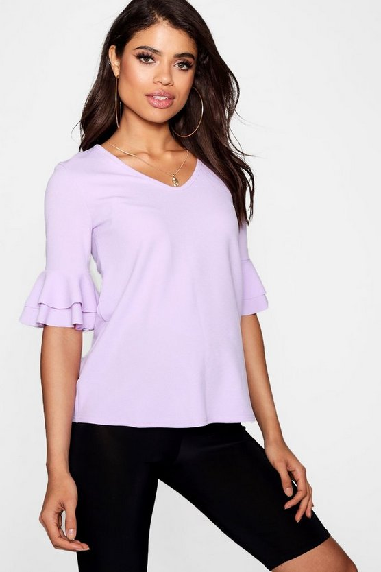 Maternity Ruffle Sleeve V Neck Top