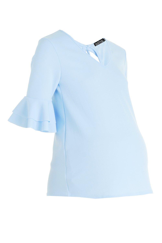 Top Maternity Neck Sleeve V Ruffle 16Cq84
