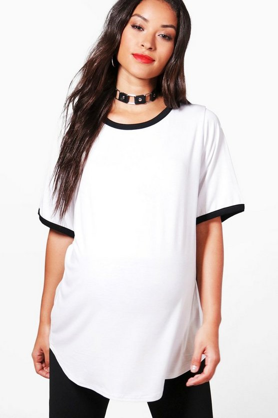 Womens White Maternity Kerry Oversized Ringer T Shirt