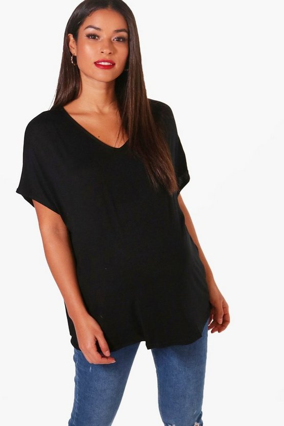 Womens Black Maternity  Oversized Boyfriend V Neck Tee