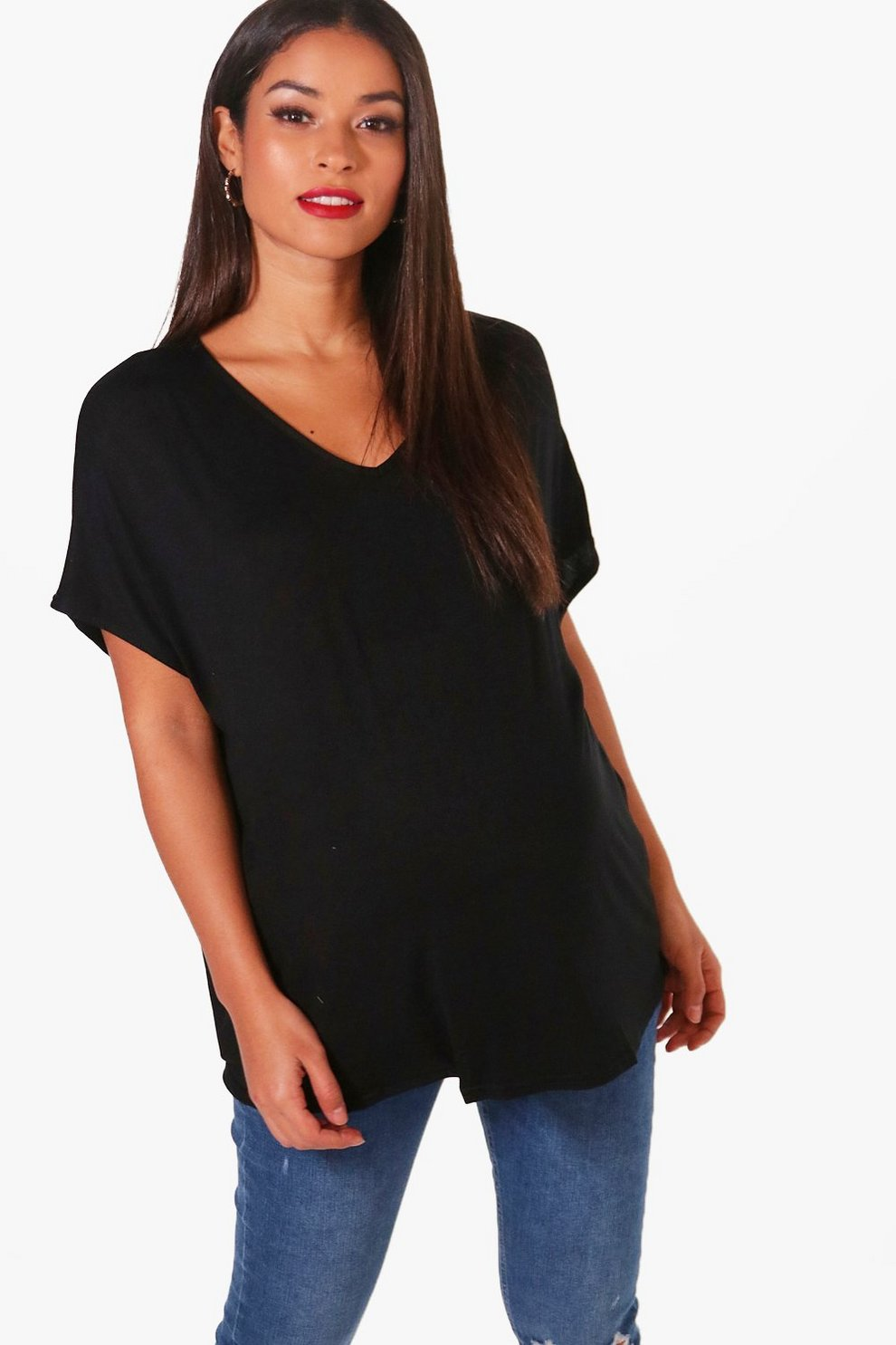 fa6518f0 Womens Black Maternity Oversized Boyfriend V Neck Tee