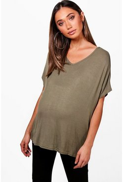 Womens Khaki Maternity  Oversized Boyfriend V Neck Tee