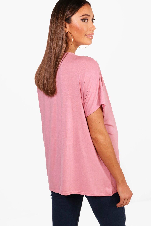 Neck Maternity Boyfriend khaki Tee V Oversized qqTw5t8