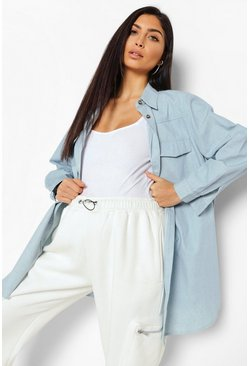 Maternity Denim Shirt, Blue, Donna