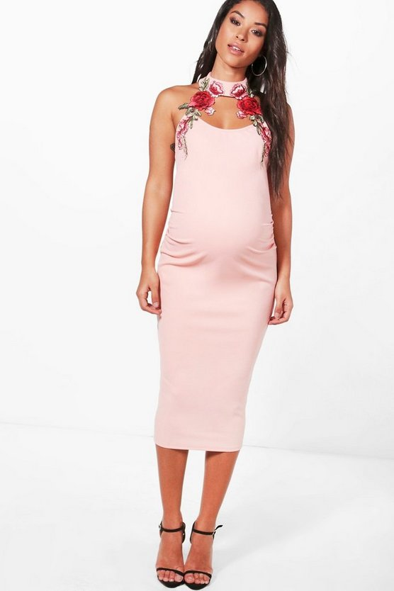 Maternity Fifi Floral Embroidered Choker Midi Dress