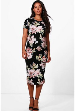 Maternity  Floral Printed Short Sleeve Dress, Black