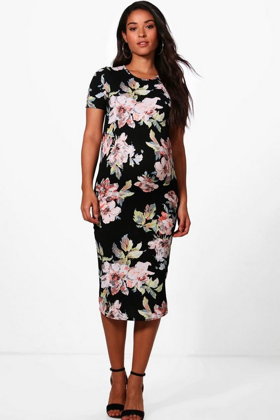 Womens Black Maternity  Floral Printed Short Sleeve Dress