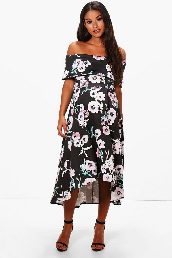 Maternity Floral Double Layer Midi Dress