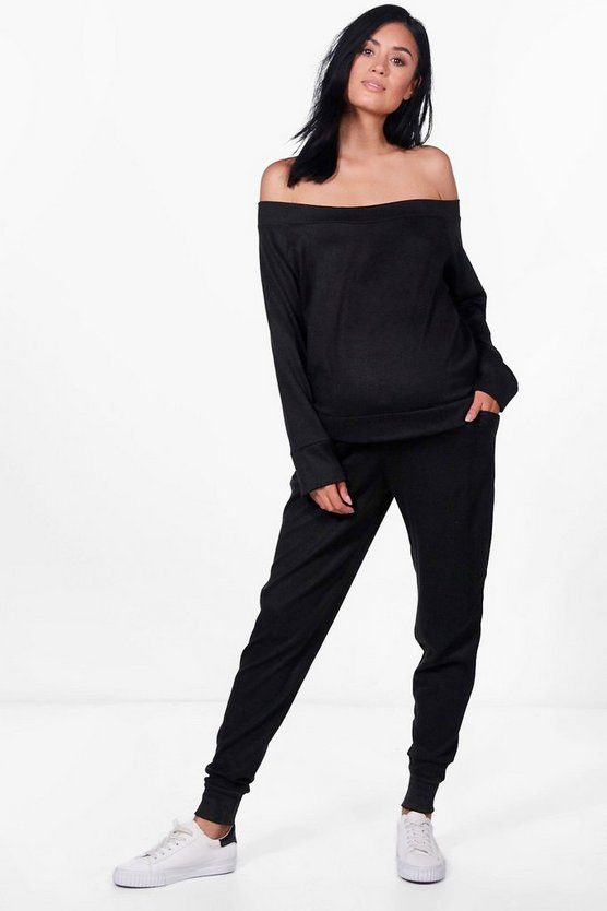 Maternity Niamh Off Shoulder Top + Lounge Jogger Set