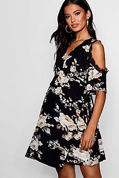 Maternity Zoey Lace Trim Floral Wrap Dress