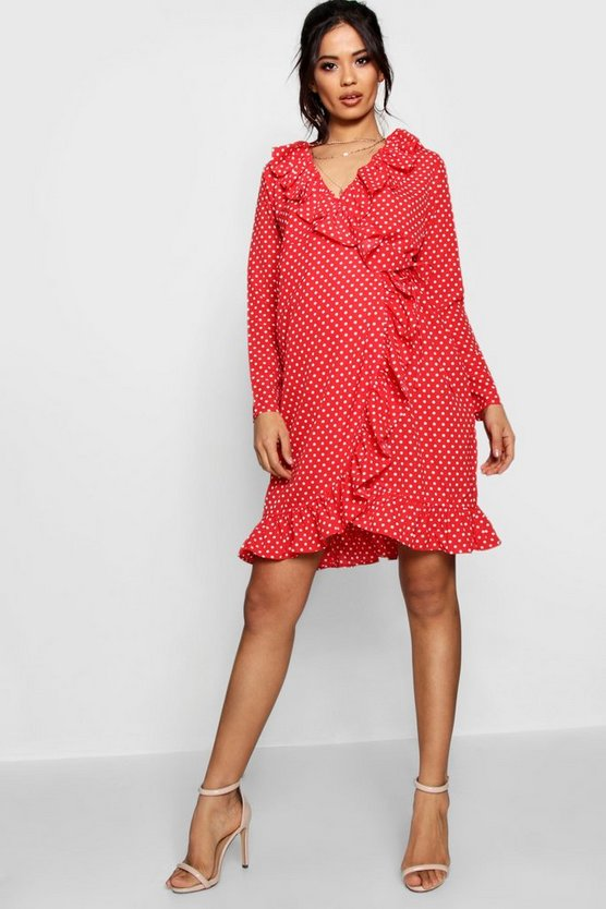 Maternity Rose Ruffle Polka Dot Print Wrap Dress