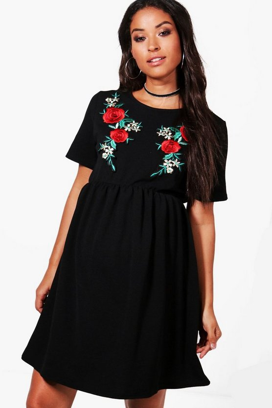 Black Maternity  Embroidery Smock Dress