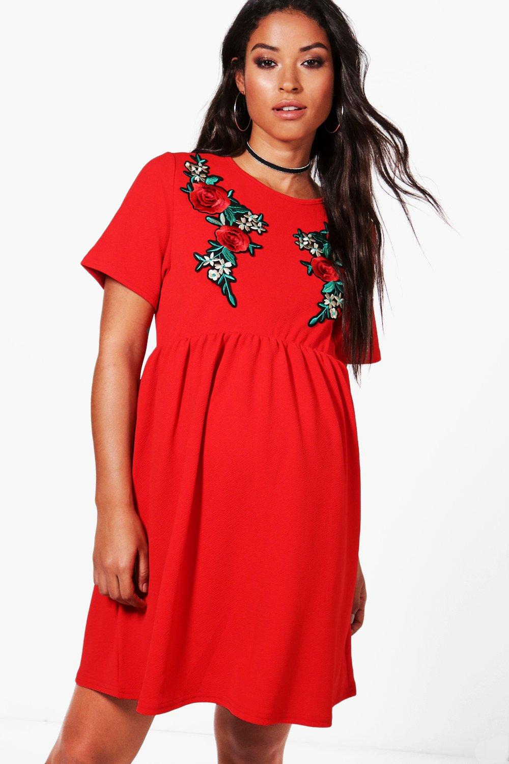 Vintage Style Maternity Clothes Maternity Embroidery Smock Dress $36.00 AT vintagedancer.com