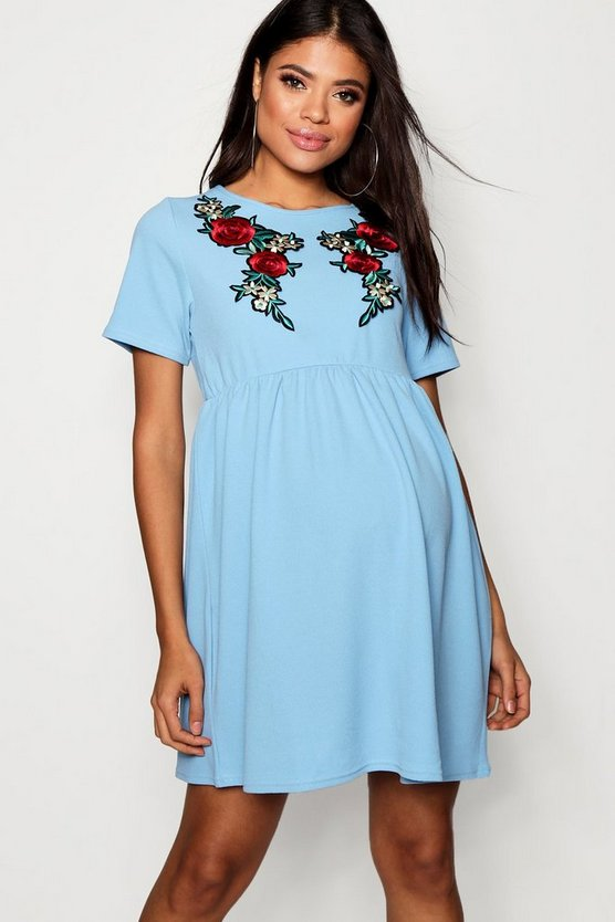 Maternity Embroidery Smock Dress