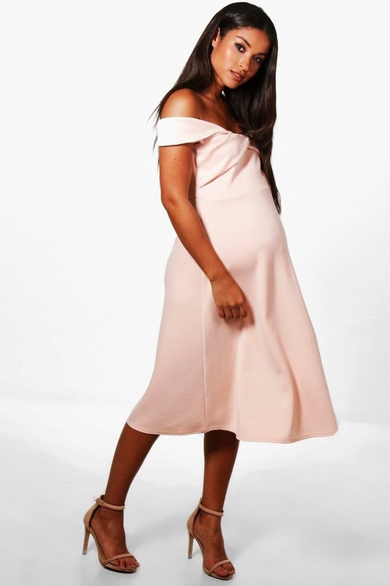 Maternity Off Shoulder Scuba Midi Dress