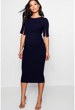 Maternity  Split Sleeve Wiggle Midi Dress, Navy, Donna