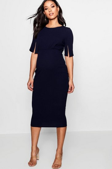 Navy Maternity  Split Sleeve Wiggle Midi Dress
