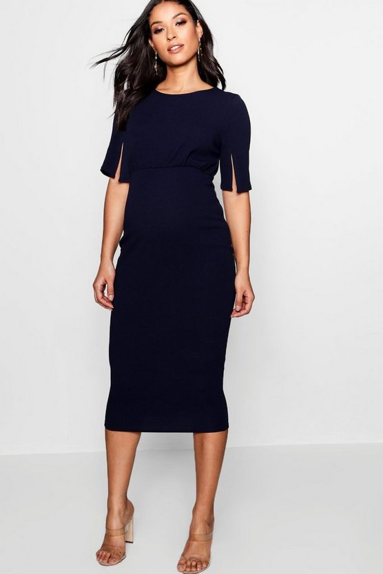 Maternity  Split Sleeve Wiggle Midi Dress