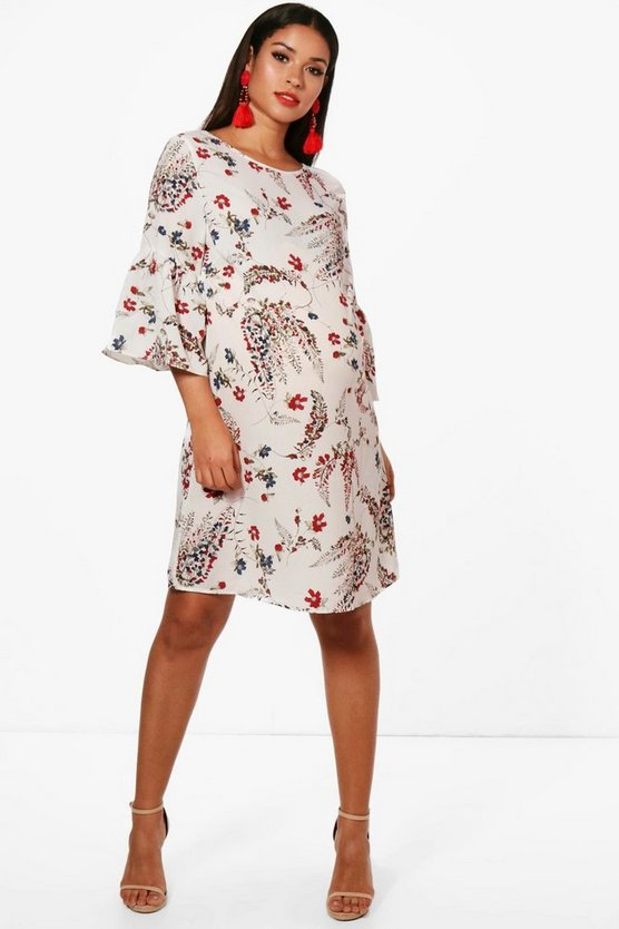 Maternity Olivia Frill Sleeve Printed Shift Dress