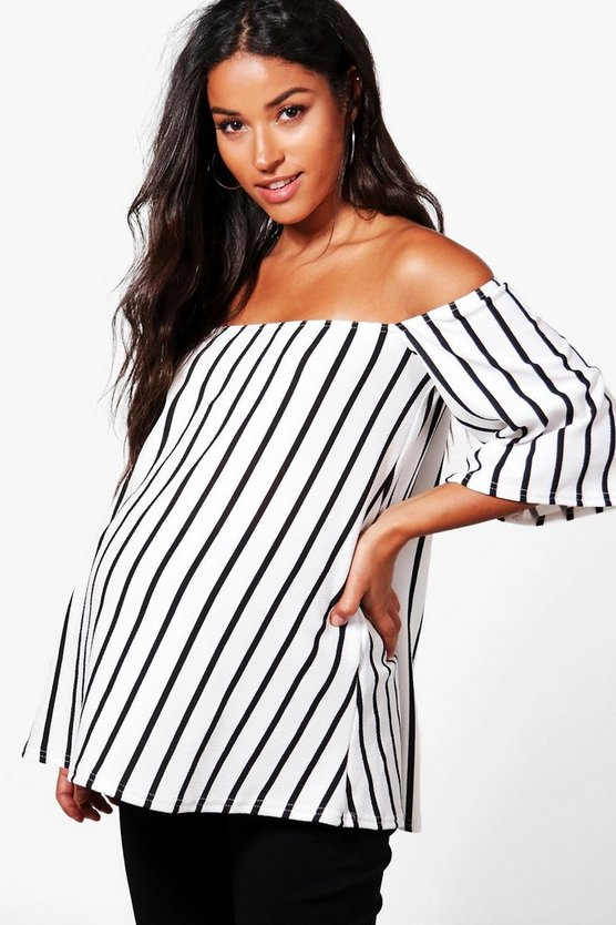 Maternity Jessica Off The Shoulder Stripe Top