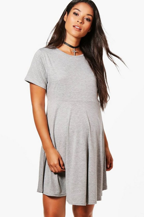 Womens Grey Maternity  Basic Smock Dress
