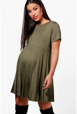 Womens Khaki Maternity  Basic Smock Dress