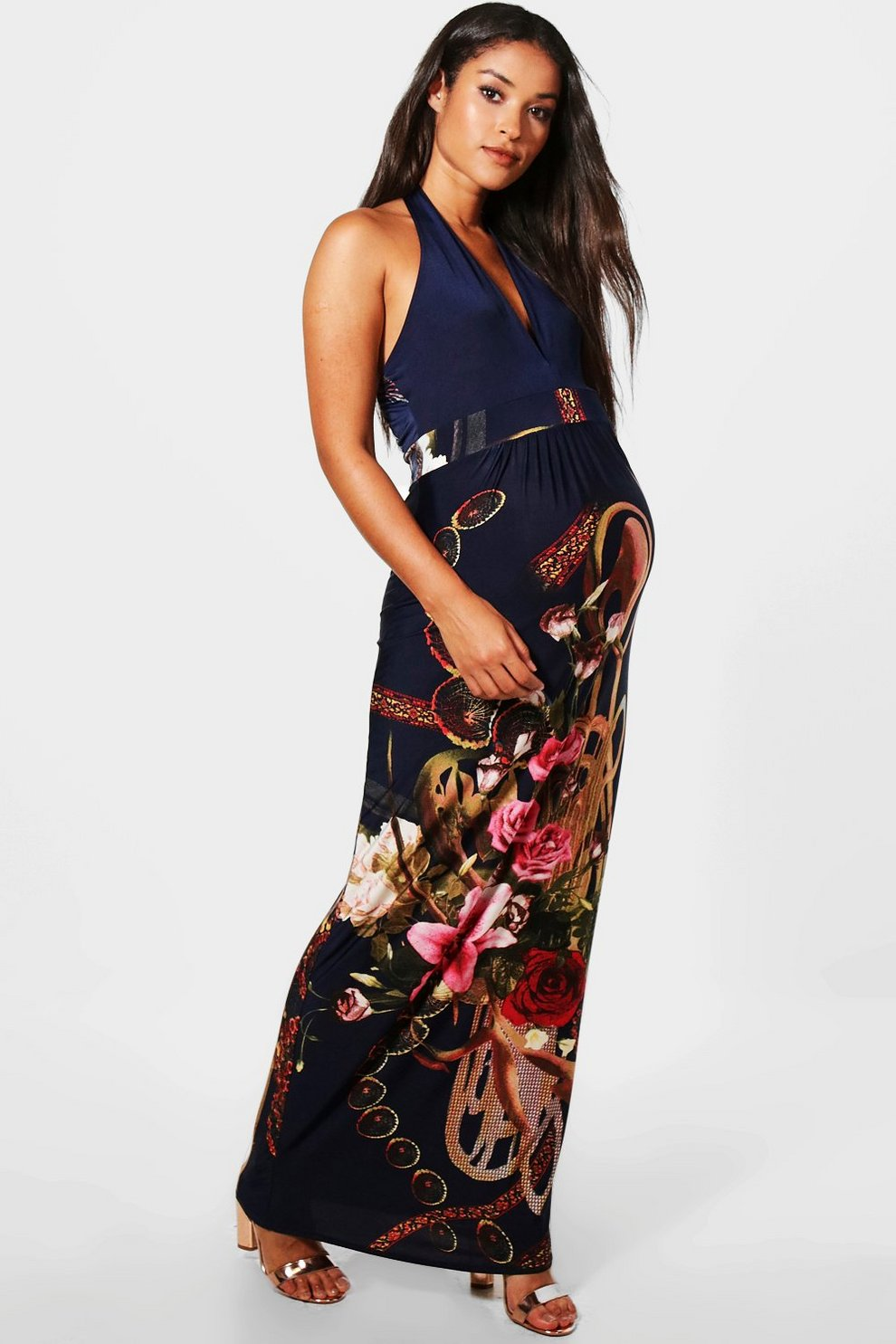 f3b24df0b794 Maternity Leila V-Neck Floral Maxi Dress | Boohoo