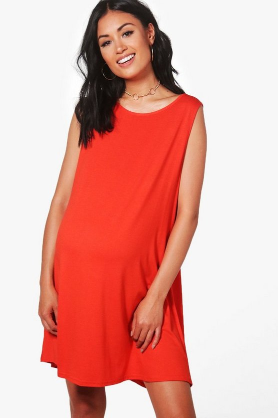 Maternity  Drop Armhole Swing Dress