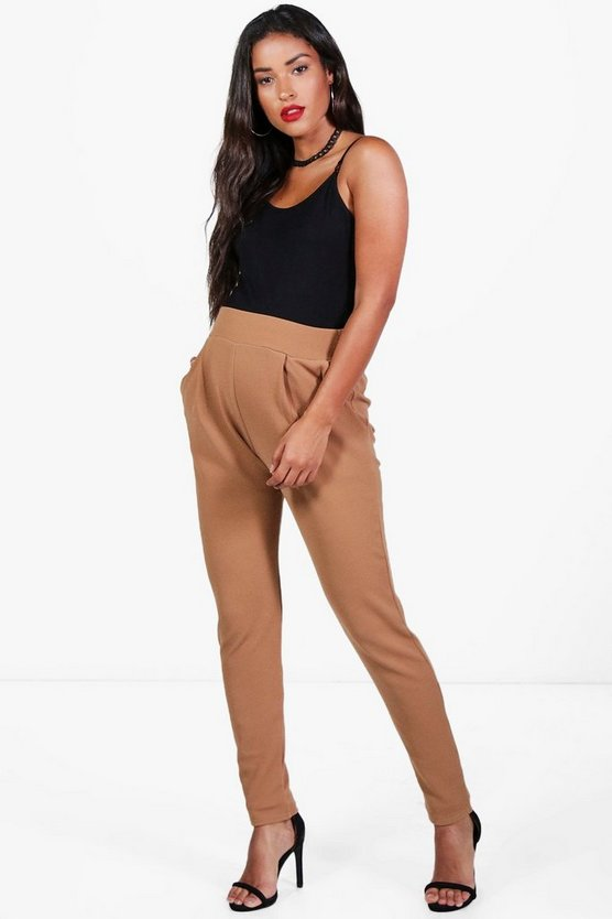 Womens Camel Maternity Pleat Front Trouser