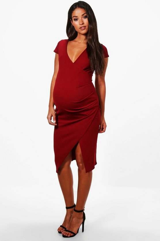 Womens Berry Maternity  Cap Sleeve Wrap Midi Dress