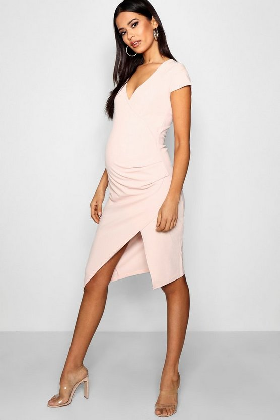 Maternity  Cap Sleeve Wrap Midi Dress