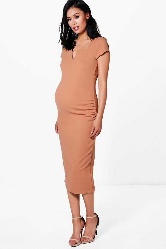 Maternity Tailored Cap Sleeved Midi Dress