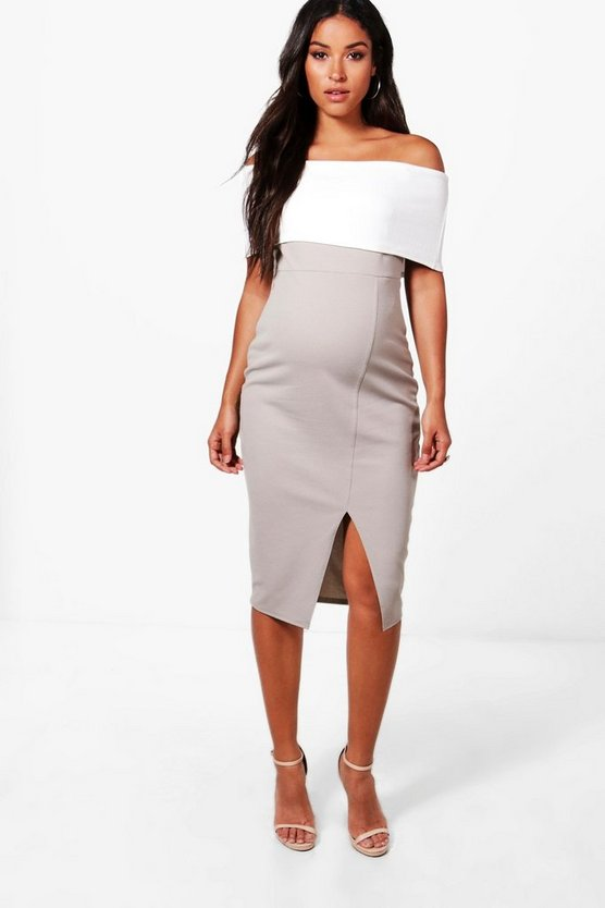 Maternity Contrast Off The Shoulder Midi Dress, Grey, Donna