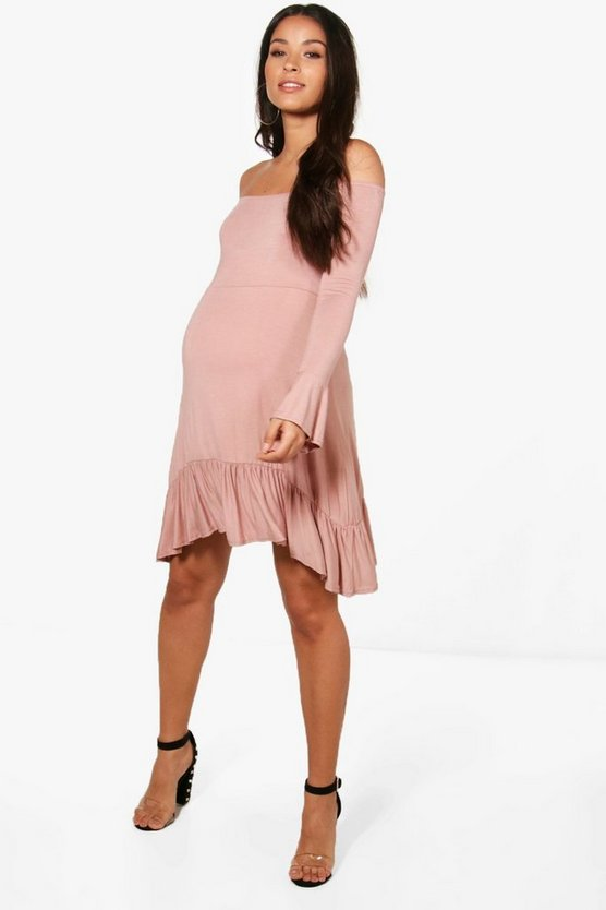 Maternity Tina Off Shoulder Frill Skater Dress