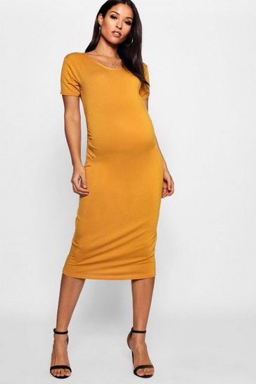 Mustard Maternity Short Sleeve Midi Dress