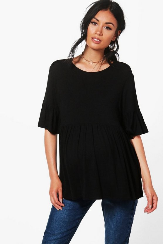 Womens Black Maternity  Ruffle Smock Top