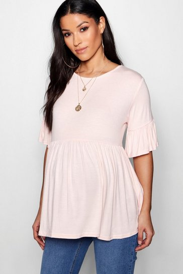 Womens Blush Maternity  Ruffle Smock Top