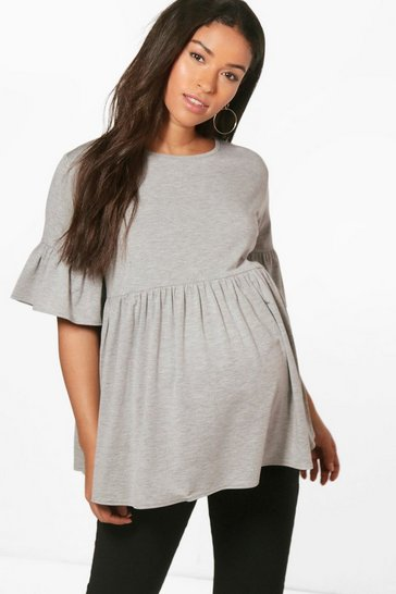 Womens Grey Maternity  Ruffle Smock Top