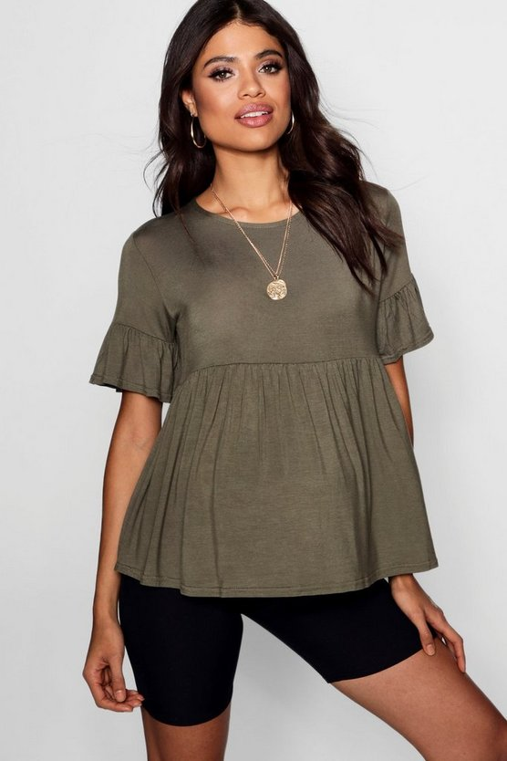 Womens Khaki Maternity  Ruffle Smock Top