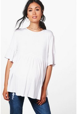 White Maternity  Ruffle Smock Top