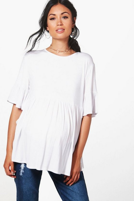 Womens White Maternity  Ruffle Smock Top