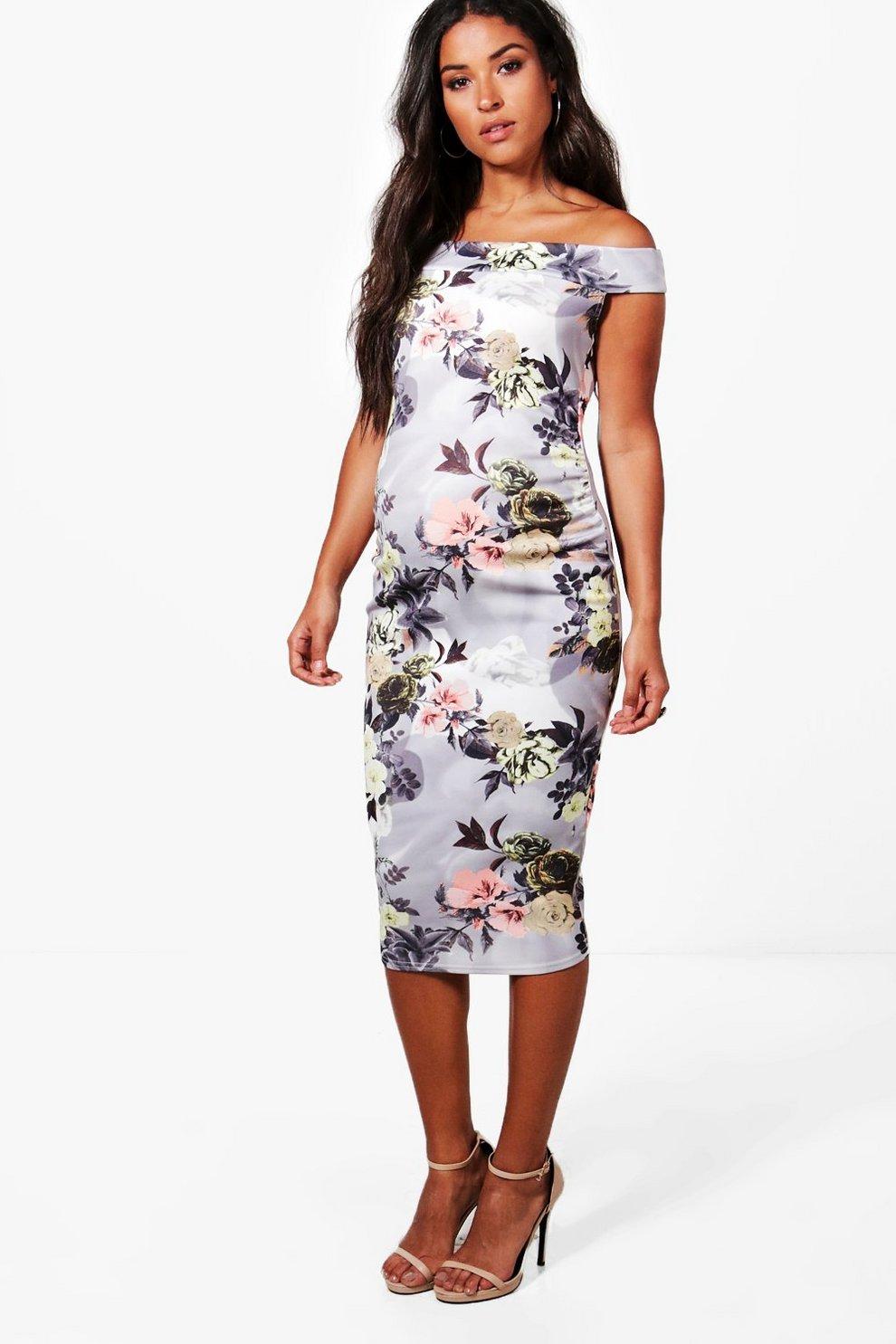 cb1fa1dfd20b9 Maternity Off The Shoulder Floral Midi Dress | Boohoo