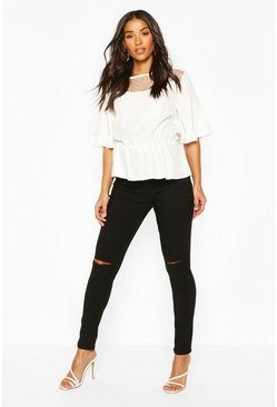 Womens Black Maternity Grace Over The Bump Ripped Skinny Jean